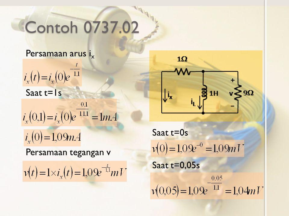 Contoh 0737.02 Persamaan arus ix Saat t=1s Saat t=0s