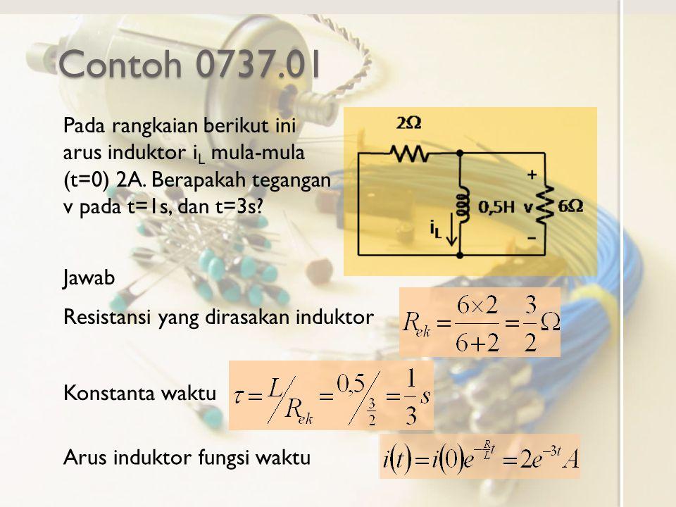 Contoh 0737.01 Pada rangkaian berikut ini arus induktor iL mula-mula (t=0) 2A. Berapakah tegangan v pada t=1s, dan t=3s