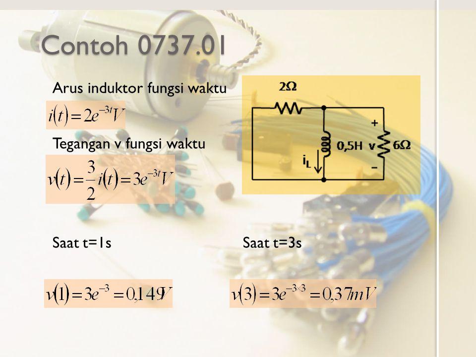 Contoh 0737.01 Arus induktor fungsi waktu Tegangan v fungsi waktu