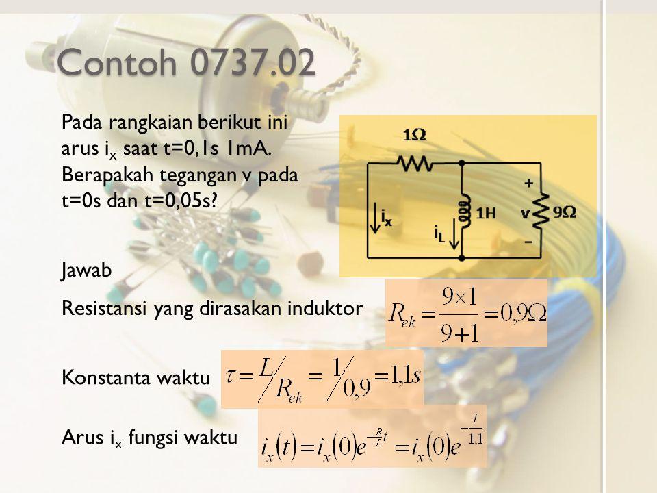 Contoh 0737.02 Pada rangkaian berikut ini arus ix saat t=0,1s 1mA. Berapakah tegangan v pada t=0s dan t=0,05s