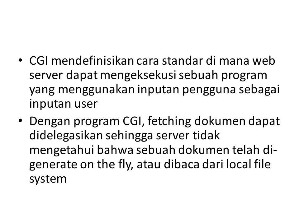 CGI mendefinisikan cara standar di mana web server dapat mengeksekusi sebuah program yang menggunakan inputan pengguna sebagai inputan user