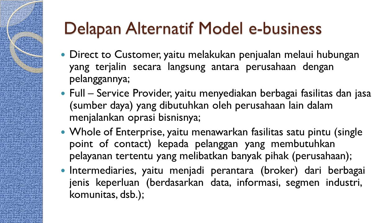 Delapan Alternatif Model e-business