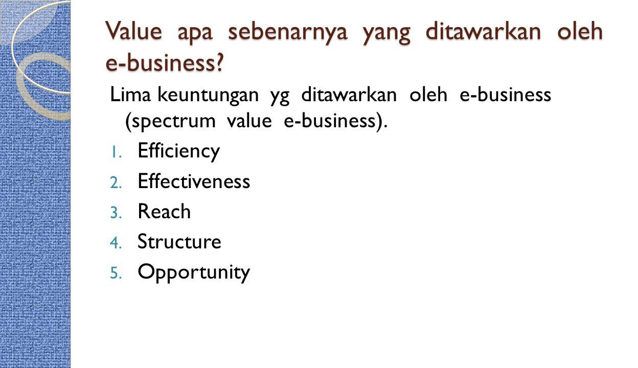 Value apa sebenarnya yang ditawarkan oleh e-business