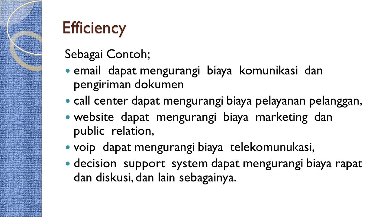 Efficiency Sebagai Contoh;
