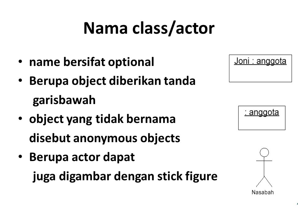 Nama class/actor name bersifat optional Berupa object diberikan tanda