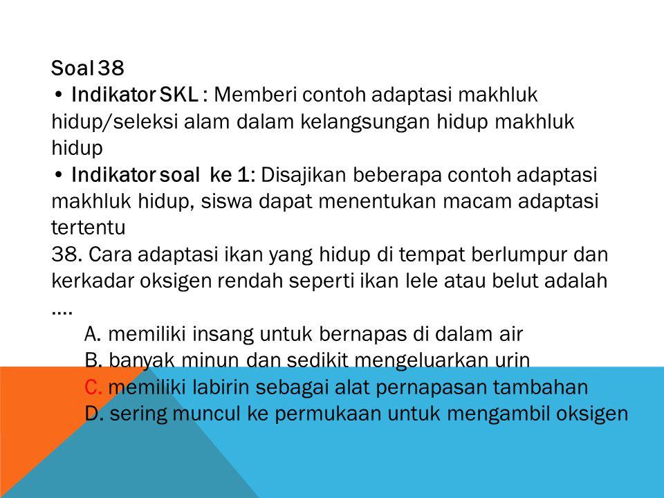Soal 38 • Indikator SKL : Memberi contoh adaptasi makhluk hidup/seleksi alam dalam kelangsungan hidup makhluk hidup.
