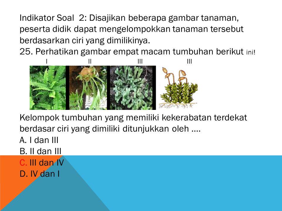 25. Perhatikan gambar empat macam tumbuhan berikut ini!