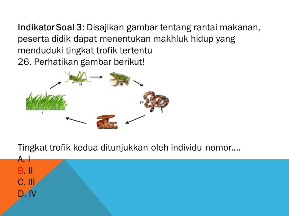 Indikator Soal 3: Disajikan gambar tentang rantai makanan, peserta didik dapat menentukan makhluk hidup yang menduduki tingkat trofik tertentu