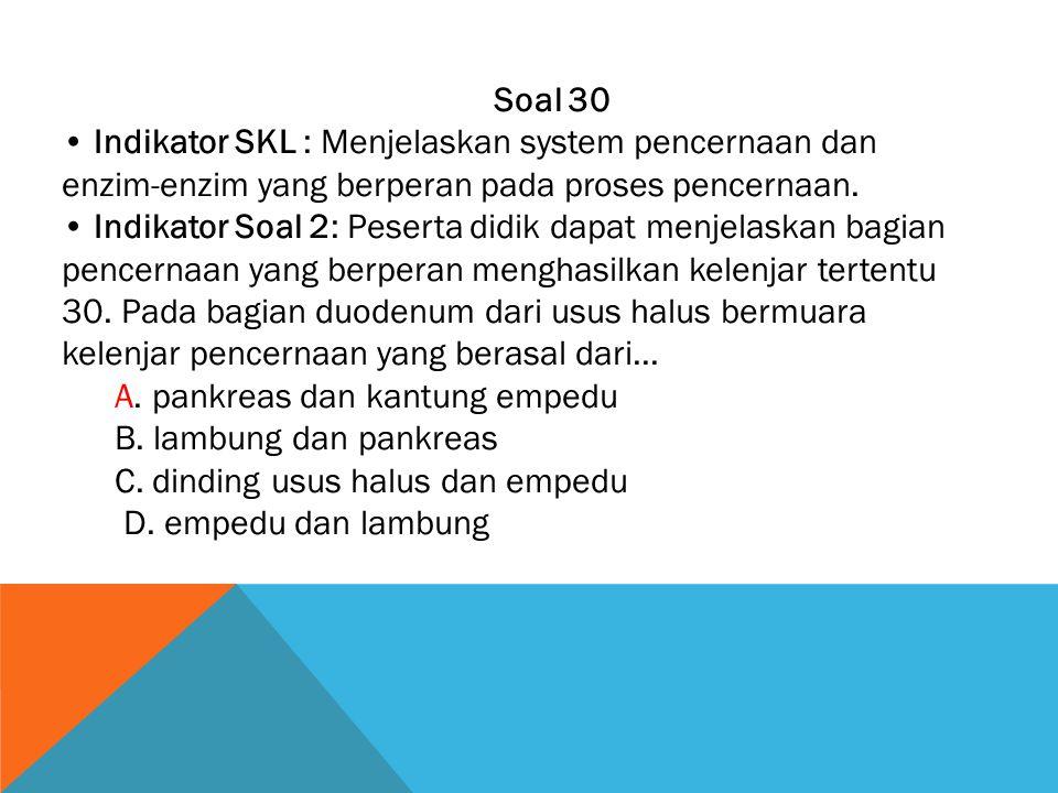 Soal 30 • Indikator SKL : Menjelaskan system pencernaan dan enzim-enzim yang berperan pada proses pencernaan.