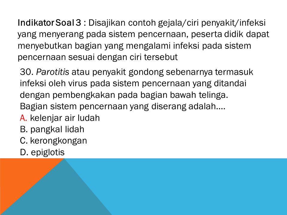 Indikator Soal 3 : Disajikan contoh gejala/ciri penyakit/infeksi yang menyerang pada sistem pencernaan, peserta didik dapat menyebutkan bagian yang mengalami infeksi pada sistem pencernaan sesuai dengan ciri tersebut