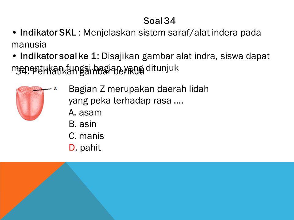 Soal 34 • Indikator SKL : Menjelaskan sistem saraf/alat indera pada manusia.