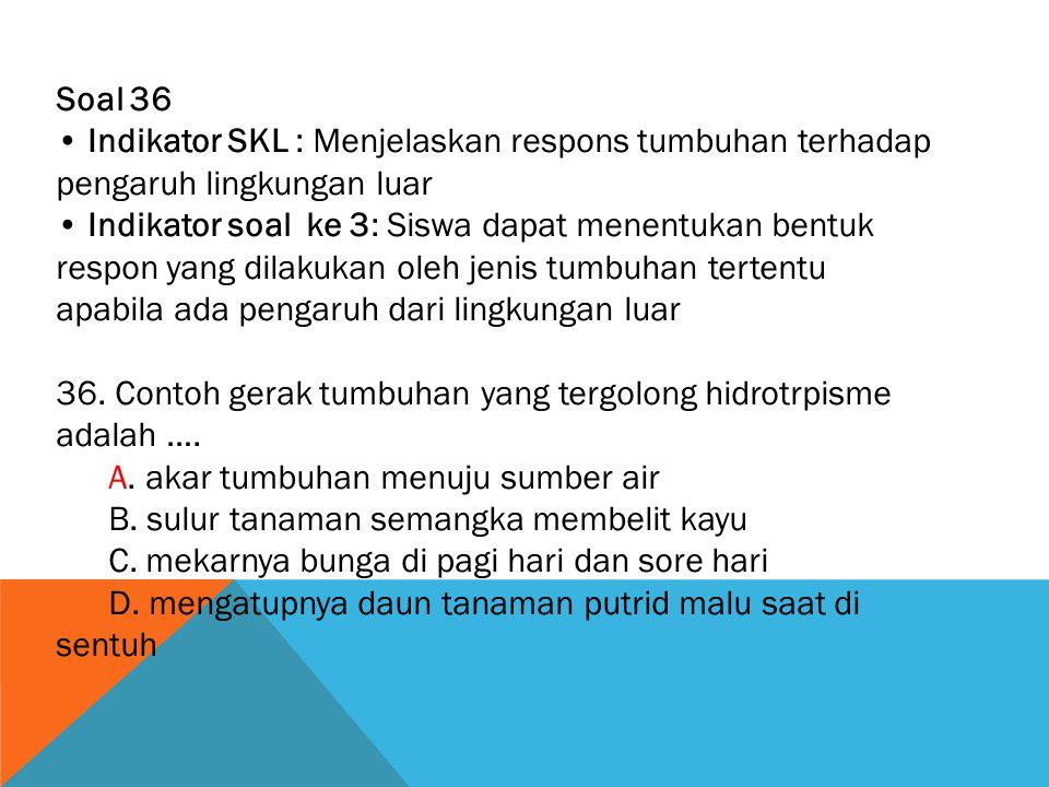 Soal 36 • Indikator SKL : Menjelaskan respons tumbuhan terhadap pengaruh lingkungan luar.