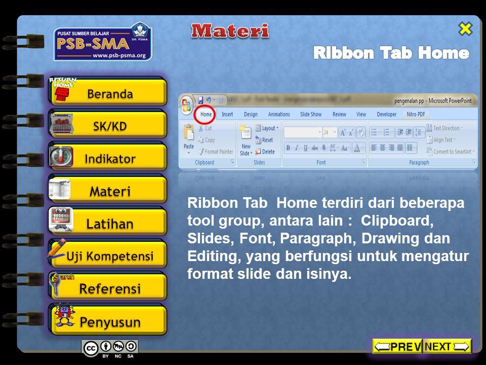 Materi Ribbon Tab Home.