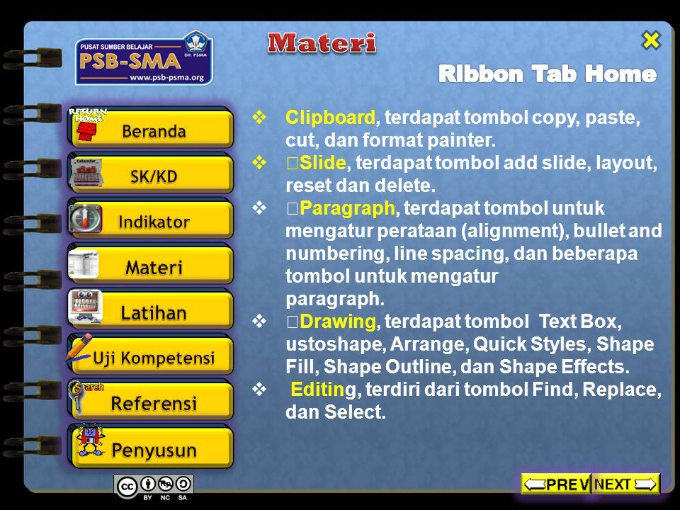 Materi Ribbon Tab Home. Clipboard, terdapat tombol copy, paste, cut, dan format painter.