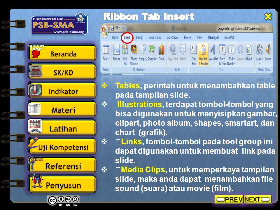 Ribbon Tab Insert Tables, perintah untuk menambahkan table pada tampilan slide.