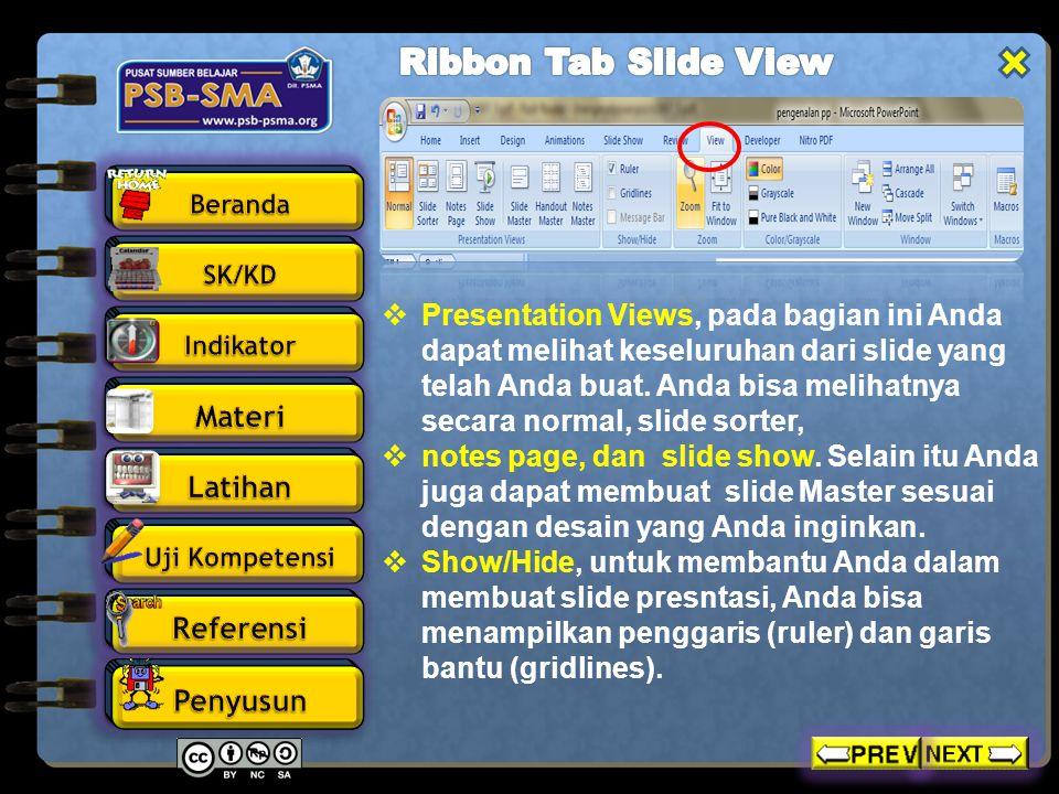 Ribbon Tab Slide View