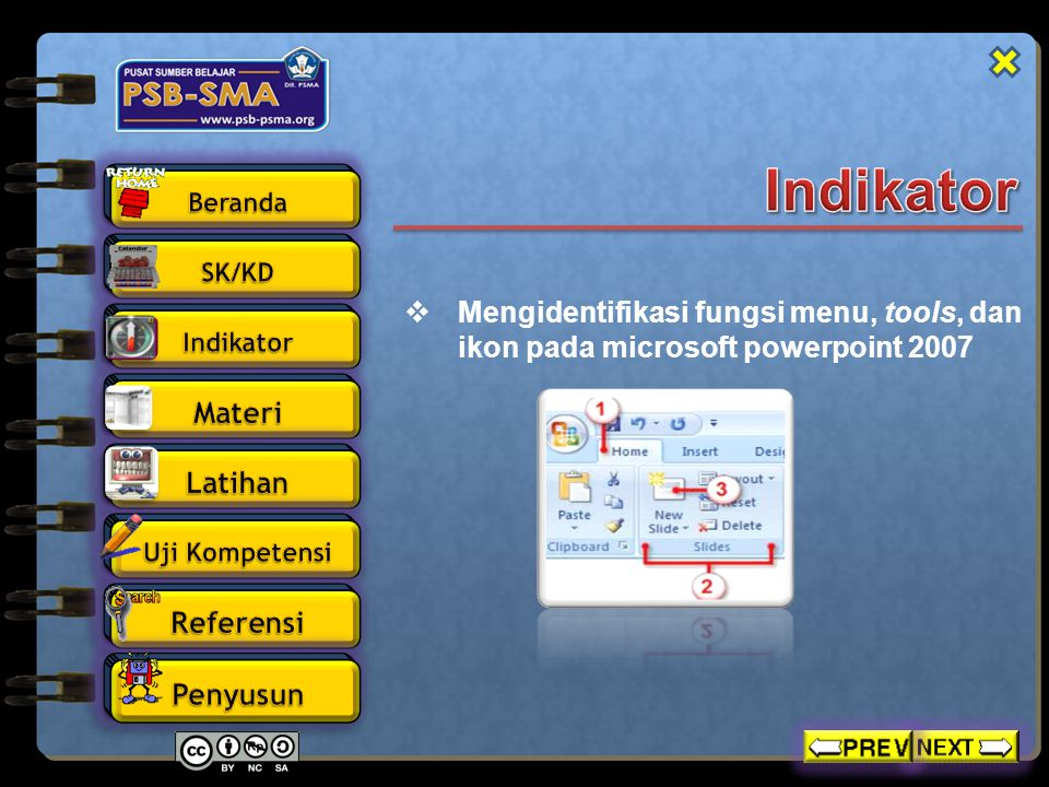 Indikator Mengidentifikasi fungsi menu, tools, dan ikon pada microsoft powerpoint 2007