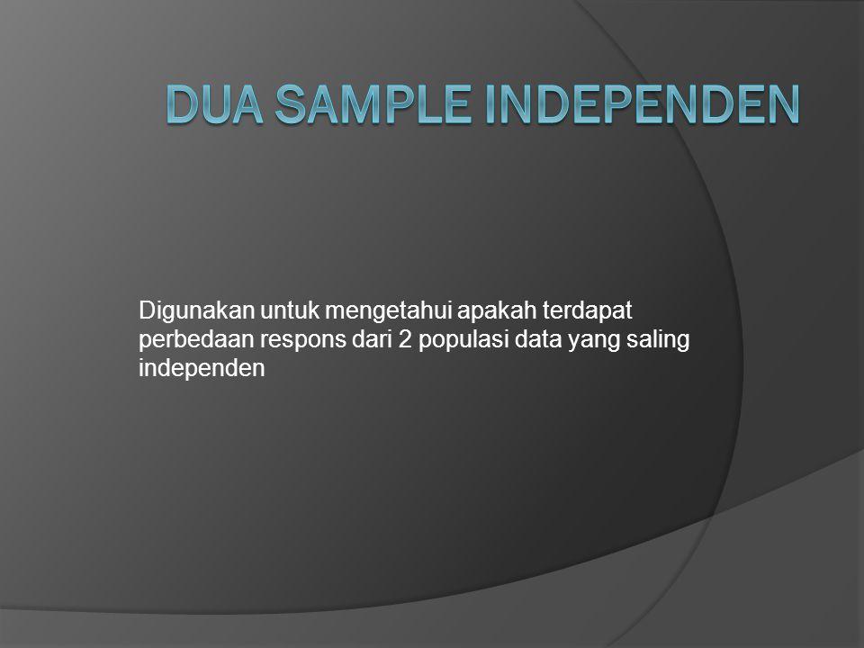Dua Sample Independen Digunakan untuk mengetahui apakah terdapat perbedaan respons dari 2 populasi data yang saling independen.