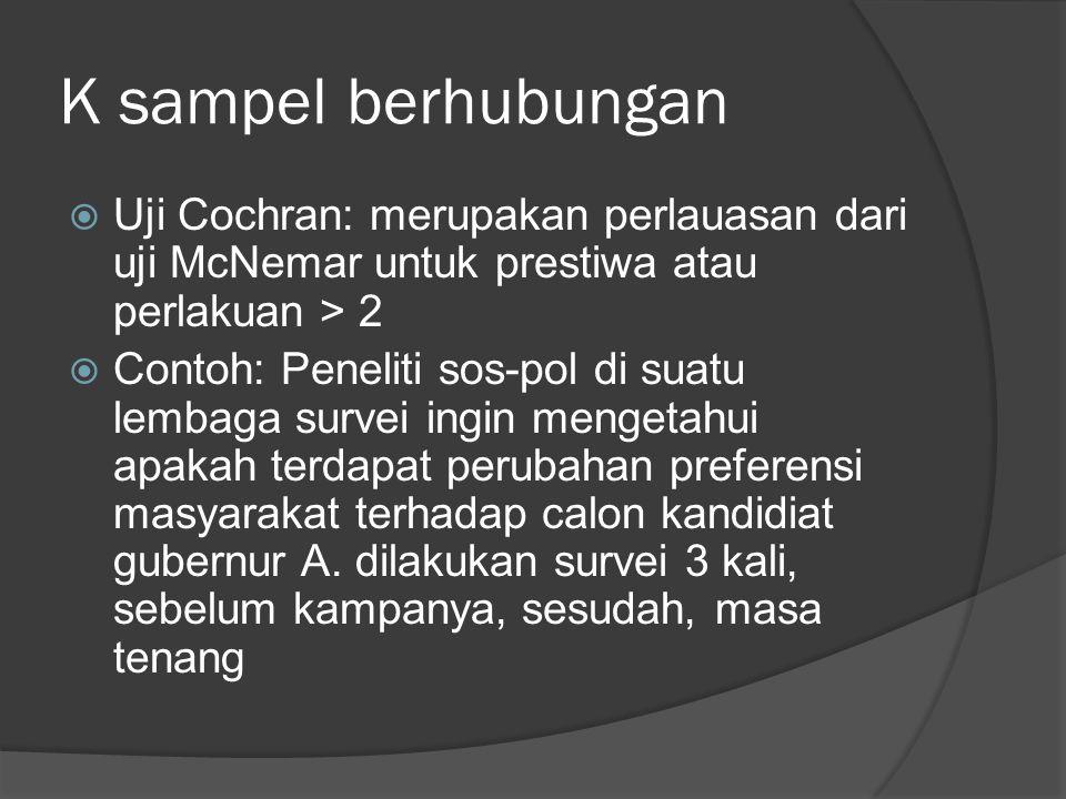 K sampel berhubungan Uji Cochran: merupakan perlauasan dari uji McNemar untuk prestiwa atau perlakuan > 2.