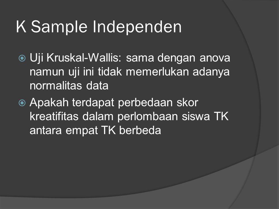 K Sample Independen Uji Kruskal-Wallis: sama dengan anova namun uji ini tidak memerlukan adanya normalitas data.