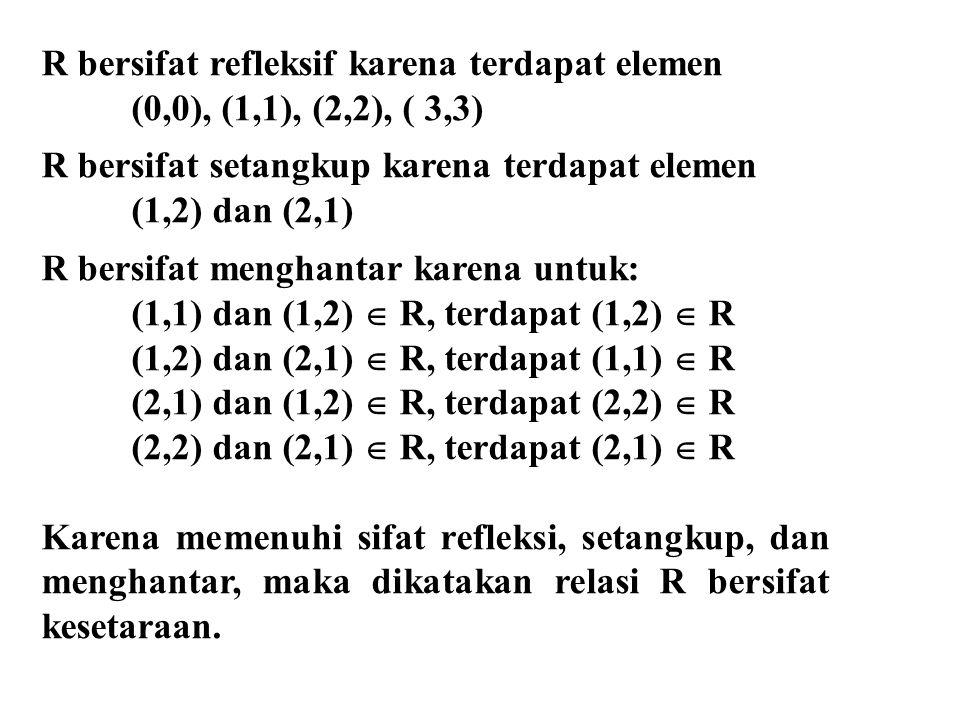R bersifat refleksif karena terdapat elemen