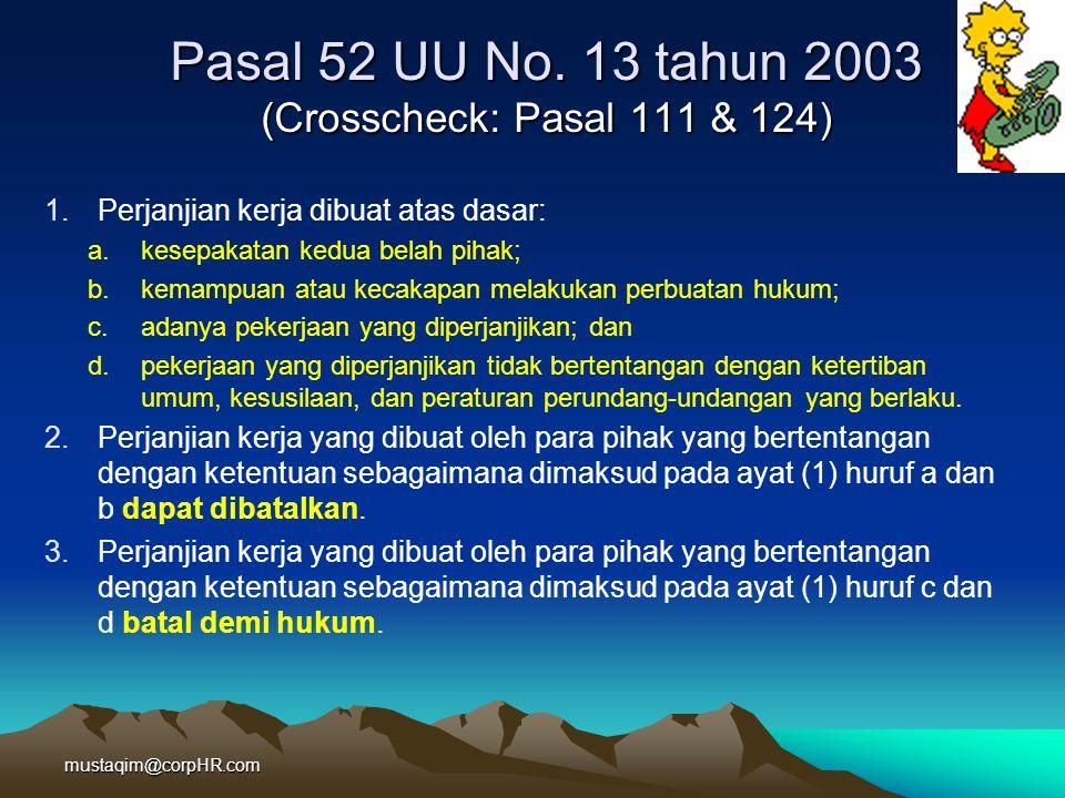 Pasal 52 UU No. 13 tahun 2003 (Crosscheck: Pasal 111 & 124)