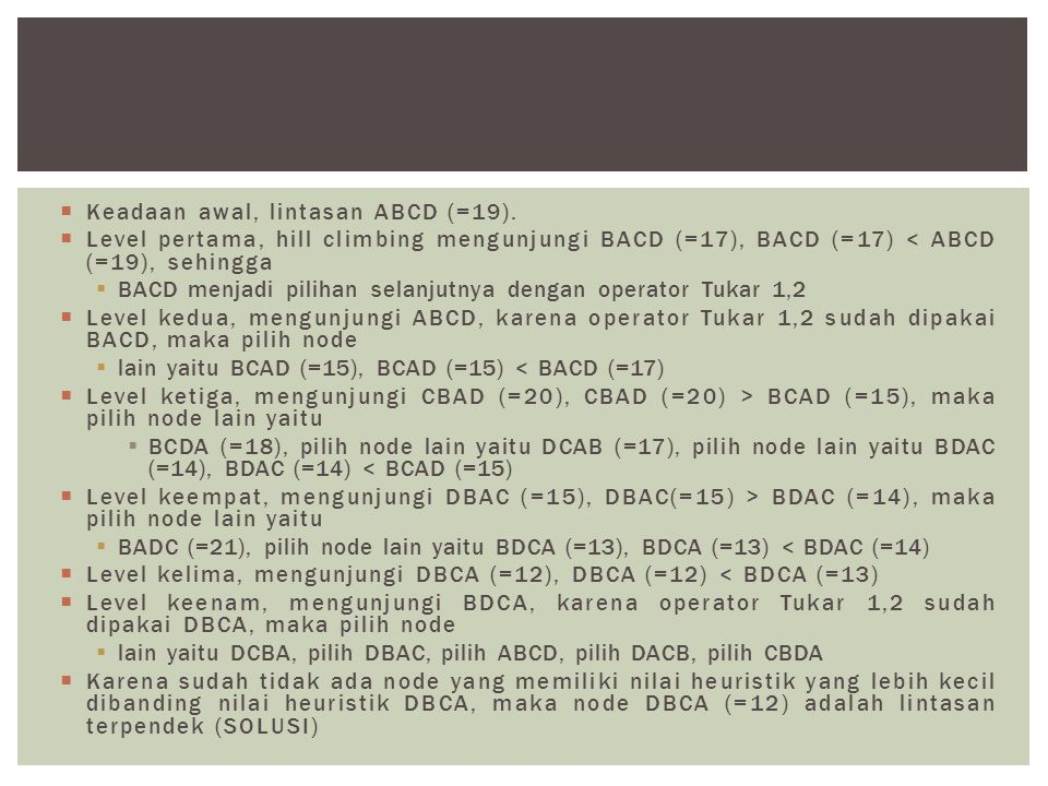 Keadaan awal, lintasan ABCD (=19).