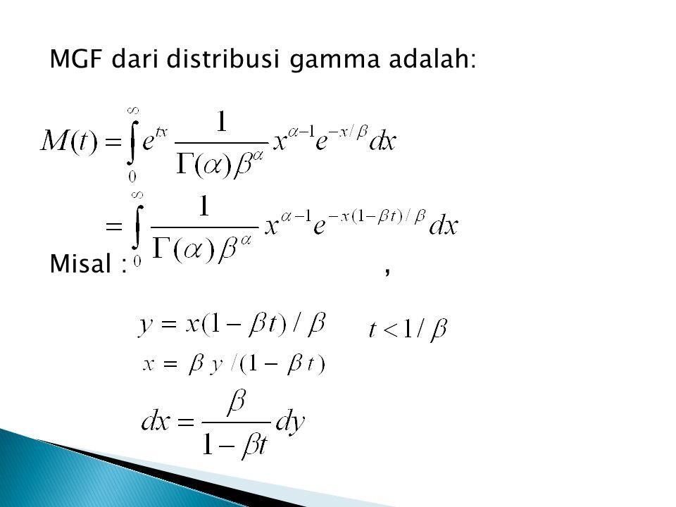 MGF dari distribusi gamma adalah: Misal : ,