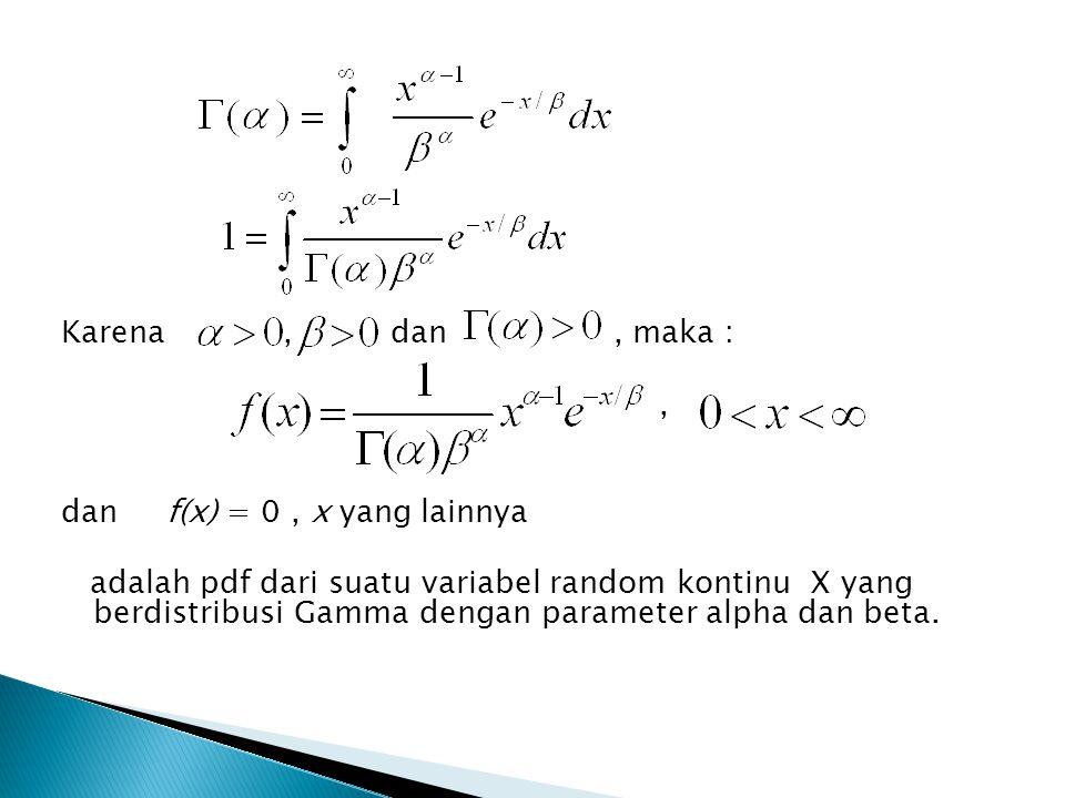 Karena , dan , maka : , dan f(x) = 0 , x yang lainnya.