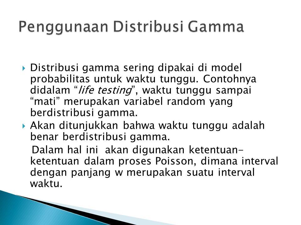 Penggunaan Distribusi Gamma