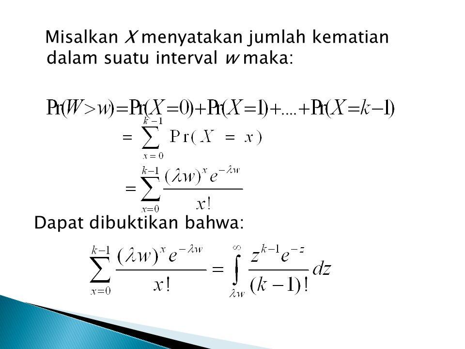 Misalkan X menyatakan jumlah kematian dalam suatu interval w maka: Dapat dibuktikan bahwa: