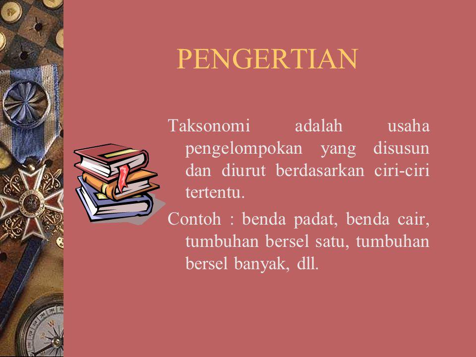 PENGERTIAN Taksonomi adalah usaha pengelompokan yang disusun dan diurut berdasarkan ciri-ciri tertentu.