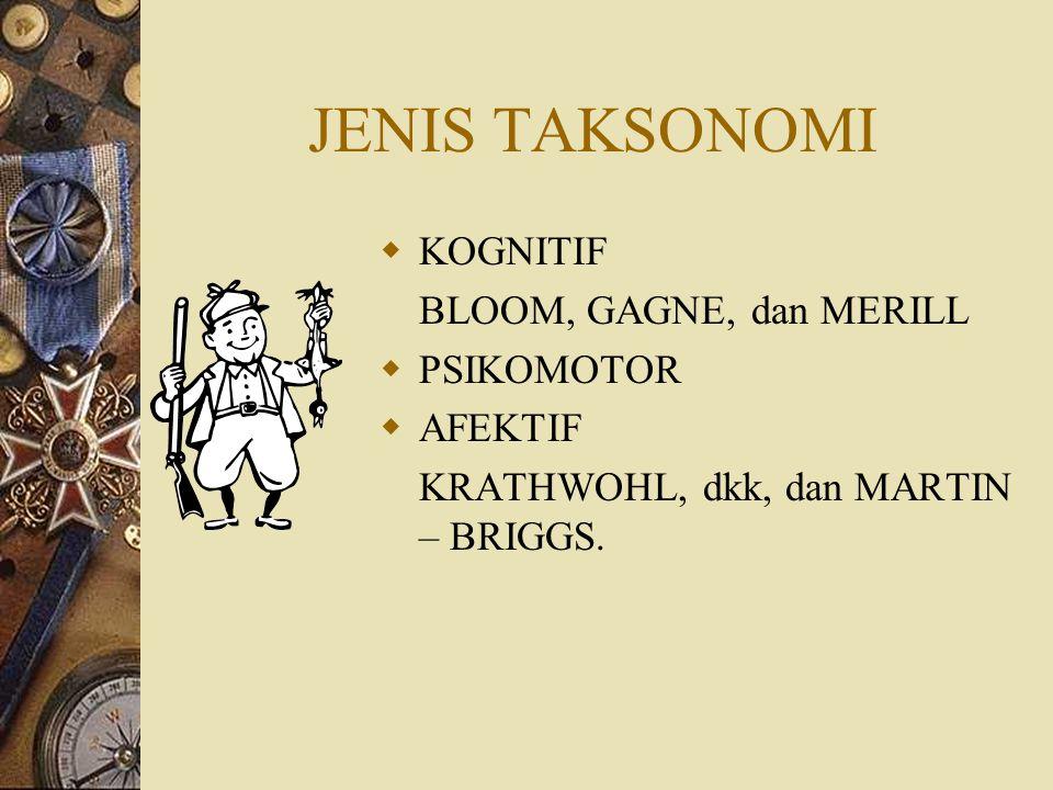 JENIS TAKSONOMI KOGNITIF BLOOM, GAGNE, dan MERILL PSIKOMOTOR AFEKTIF