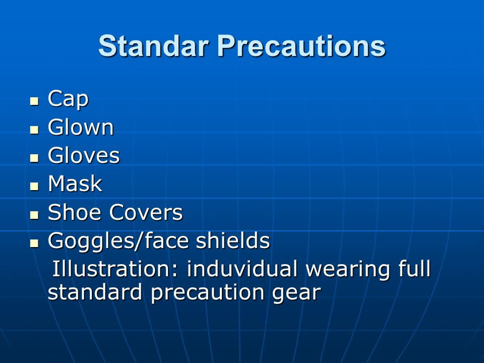 Standar Precautions Cap Glown Gloves Mask Shoe Covers