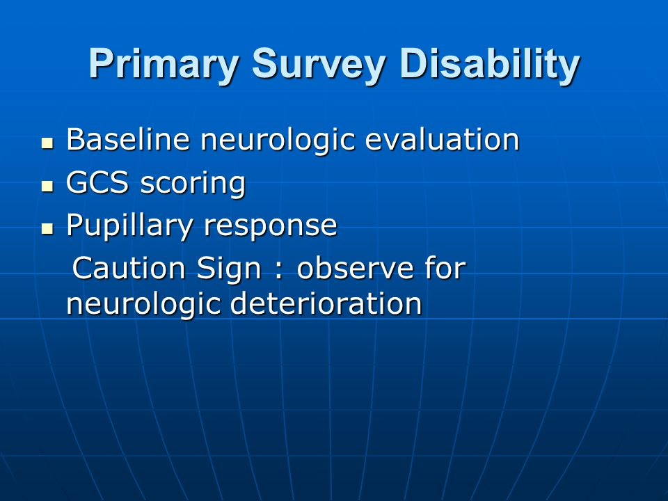 Primary Survey Disability
