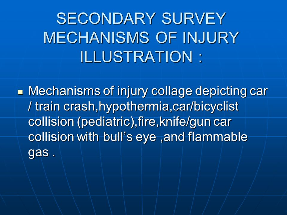 SECONDARY SURVEY MECHANISMS OF INJURY ILLUSTRATION :
