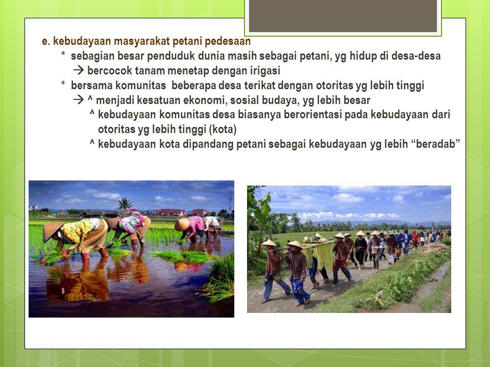 e. kebudayaan masyarakat petani pedesaan