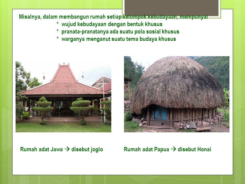 Misalnya, dalam membangun rumah setiap kelompok kebudayaan, mempunyai