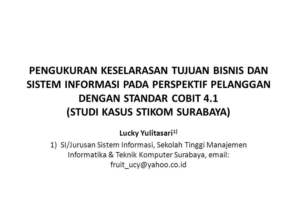 PENGUKURAN KESELARASAN TUJUAN BISNIS DAN SISTEM INFORMASI PADA PERSPEKTIF PELANGGAN DENGAN STANDAR COBIT 4.1 (STUDI KASUS STIKOM SURABAYA)