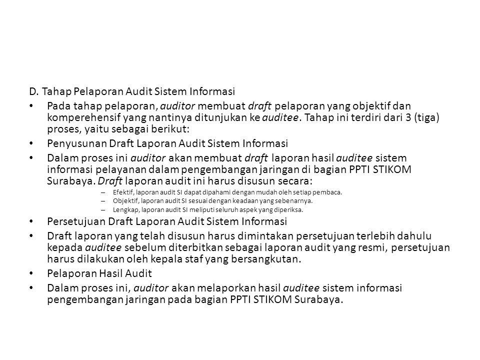 D. Tahap Pelaporan Audit Sistem Informasi