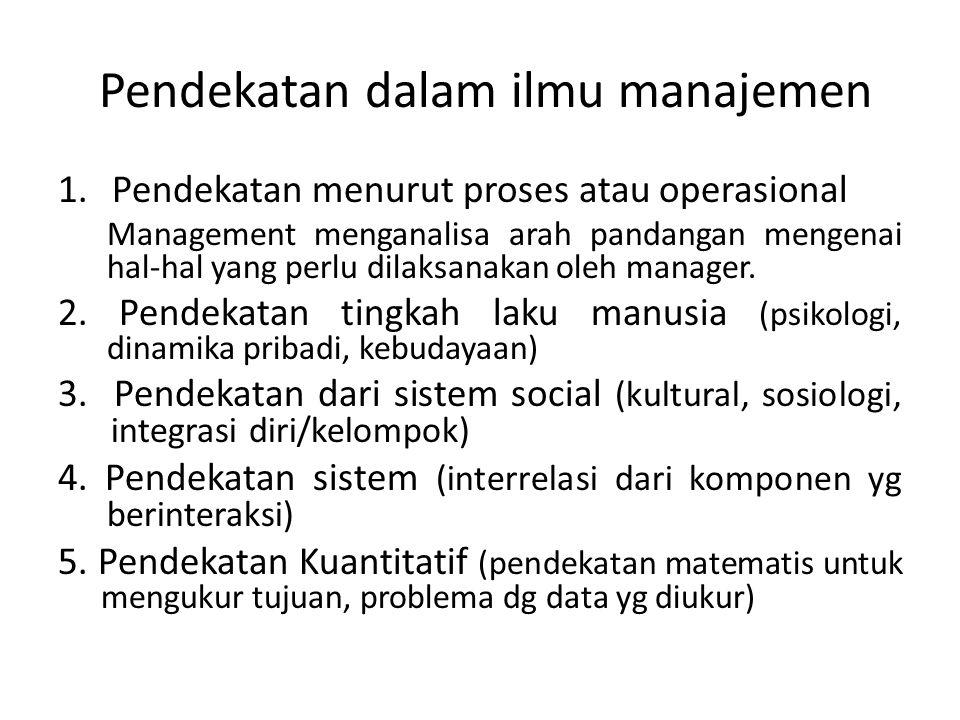 Pendekatan dalam ilmu manajemen