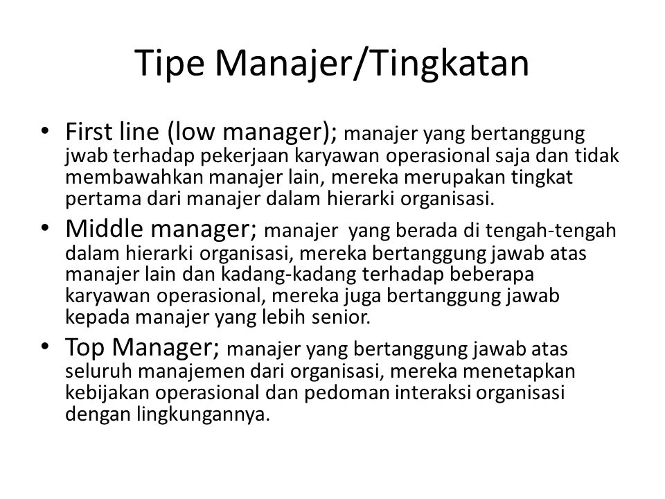 Tipe Manajer/Tingkatan