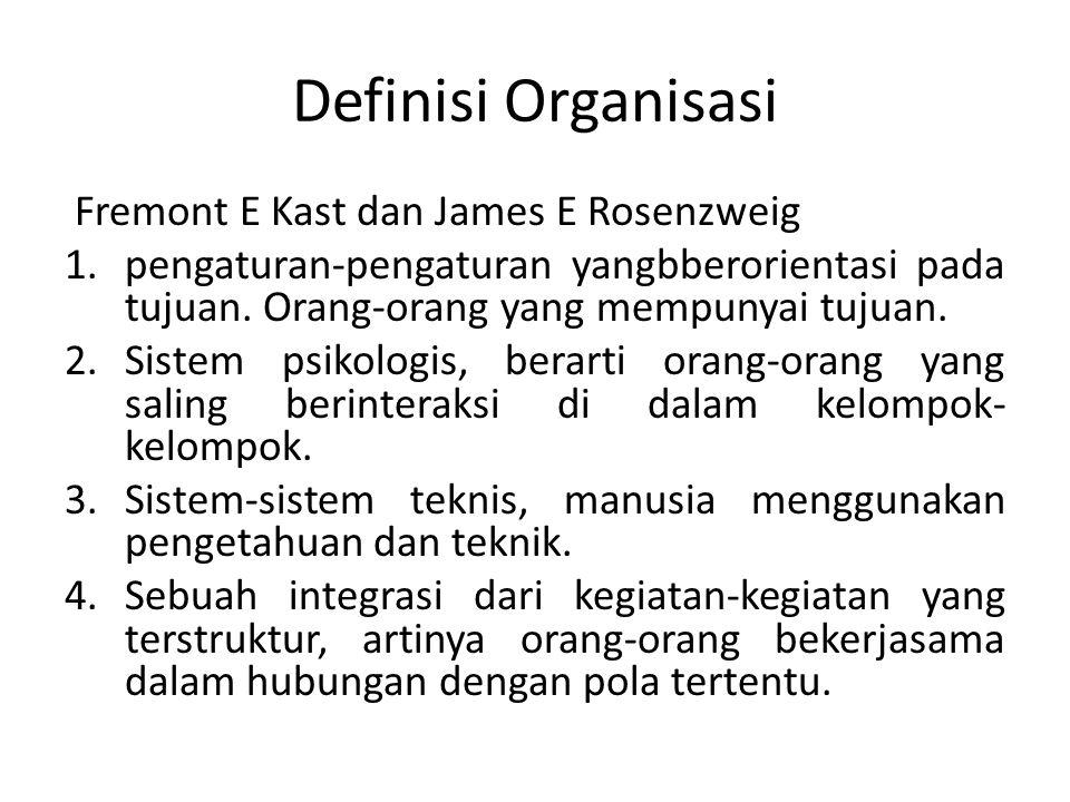 Definisi Organisasi Fremont E Kast dan James E Rosenzweig