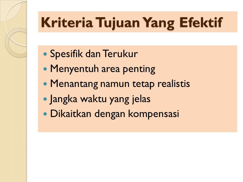 Kriteria Tujuan Yang Efektif