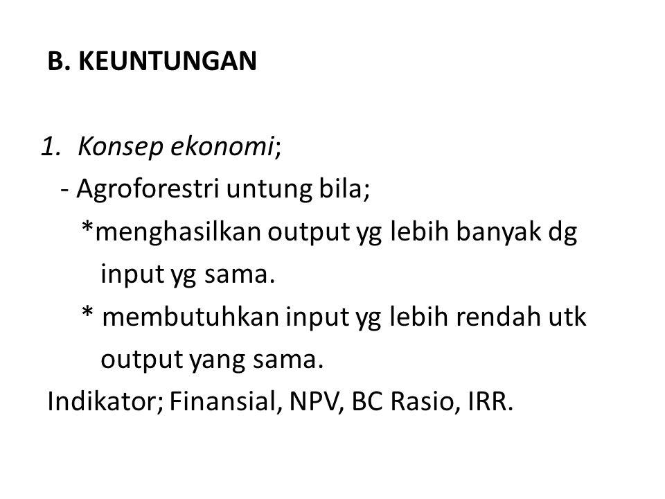B. KEUNTUNGAN Konsep ekonomi; - Agroforestri untung bila; *menghasilkan output yg lebih banyak dg.