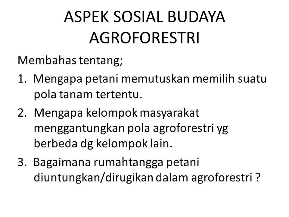 ASPEK SOSIAL BUDAYA AGROFORESTRI