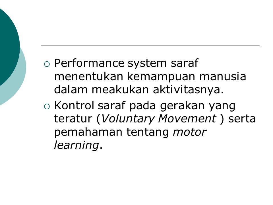 Performance system saraf menentukan kemampuan manusia dalam meakukan aktivitasnya.