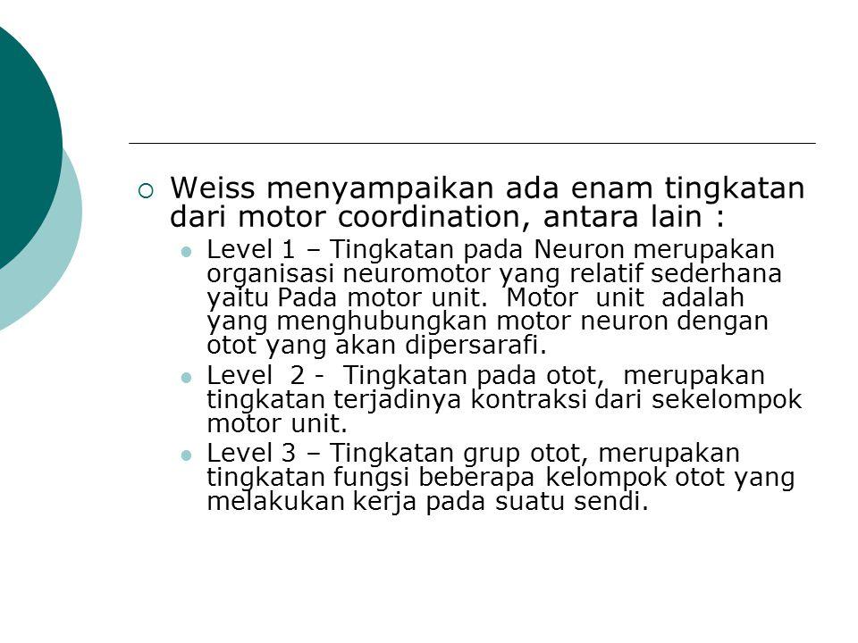 Weiss menyampaikan ada enam tingkatan dari motor coordination, antara lain :