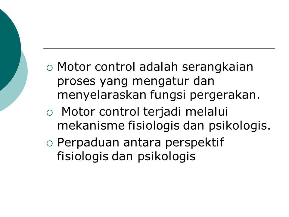 Motor control adalah serangkaian proses yang mengatur dan menyelaraskan fungsi pergerakan.