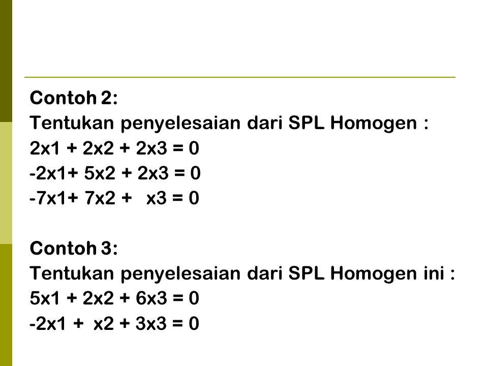 Contoh 2: Tentukan penyelesaian dari SPL Homogen : 2x1 + 2x2 + 2x3 = 0. -2x1+ 5x2 + 2x3 = 0. -7x1+ 7x2 + x3 = 0.
